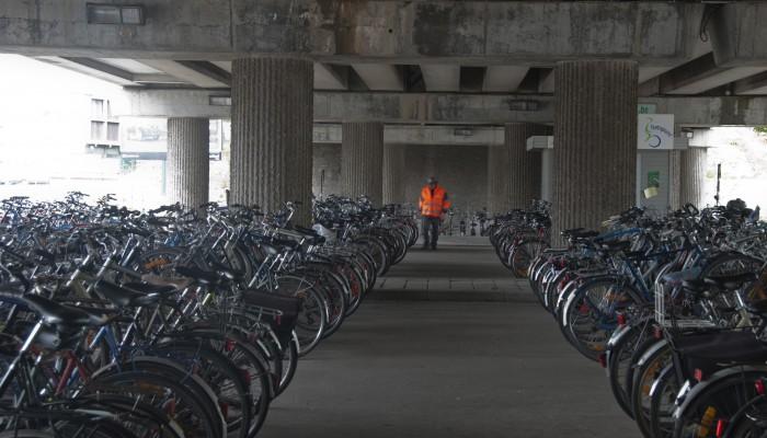 Ontruiming fietsstalling station